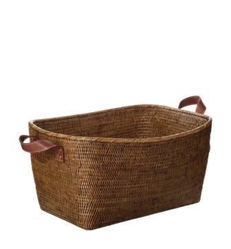 Fairfax Rattan Basket, Large - Brown