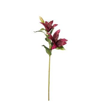 Faux Burgundy Lily Stem - Dark Purple