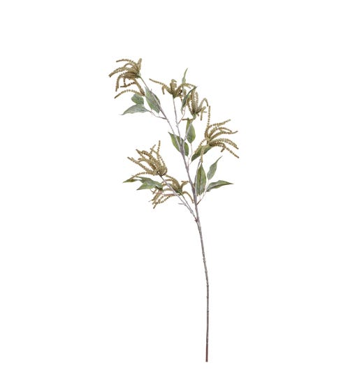 Faux Catkin with leaves Stem -Green