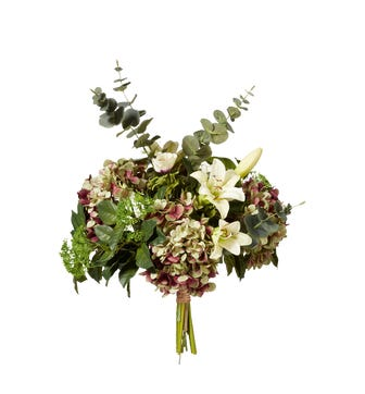 Faux Easter Lily, Anemone, Hydrangea and Eucalyptus Bunch - Multi