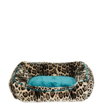 Faux Fur Dog Bed, Large - Leopard/Dark Teal