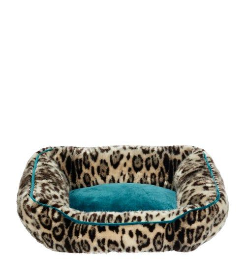 Faux Fur Dog Bed, Small - Leopard/Dark Teal