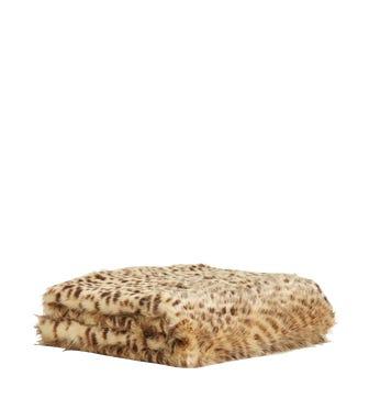 Faux Fur Throw - Cheetah/Blue