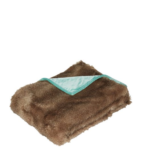 Faux Fur Throw - Chinchilla/Pale Turquoise