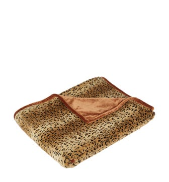 Faux Fur Throw - Cheetah/Rust