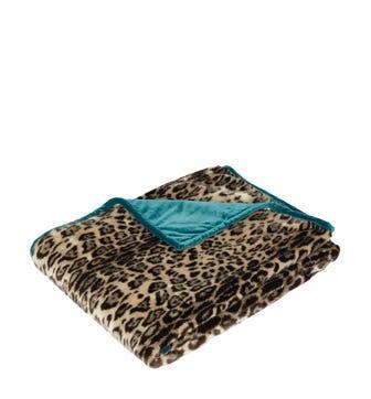 Faux Fur Throw - Leopard/Dark Teal
