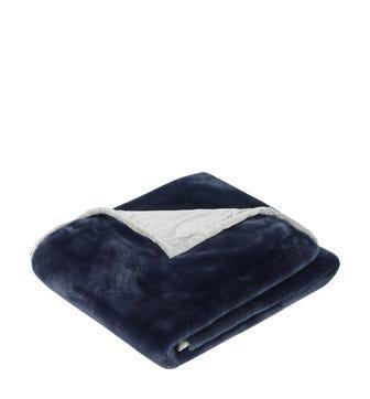 Faux Fur Throw - Midnight Blue