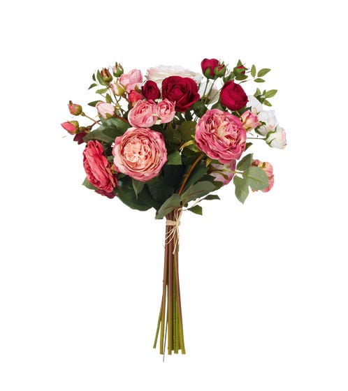 Faux Garden Rose Bunch, Large - Red