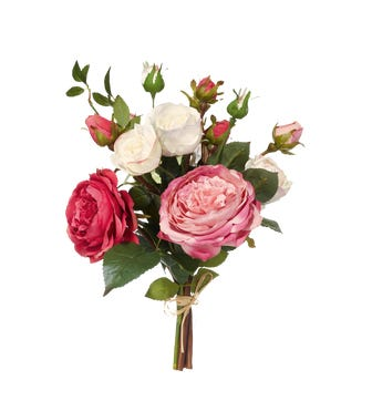 Faux Garden Rose Bunch, Small - Red