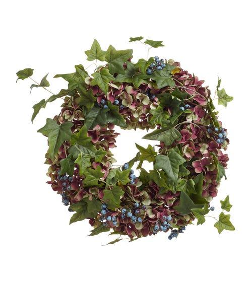 Faux Hydrangea, Berry & Ivy Wreath