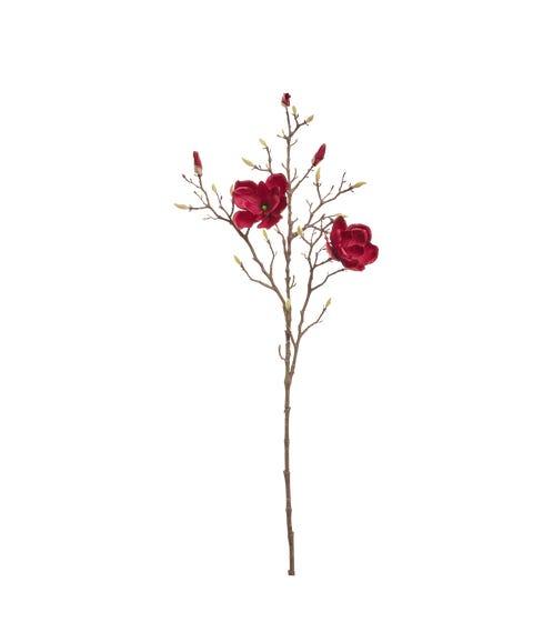 Faux Magnolia Bud Branch - Deep Purple
