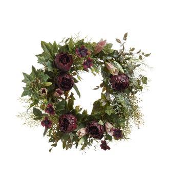 Faux Peony, Ivy, Cosmos & Casa Blanca Lily Wreath