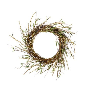 Faux Pussy Willow Wreath ? White