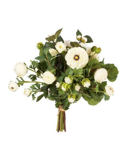 Faux Ranunculus & Hops - White