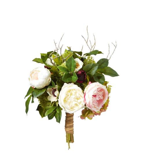 Faux Rose, Anemone & Hydrangea Bunch - Multi