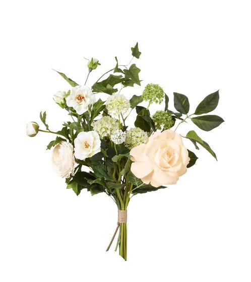 Faux Rose, Ivy & Allium Bunch - White