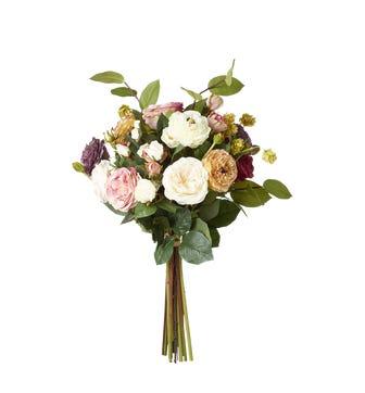 Faux Roses, Ranunculus, Apple Leaf & Hops Bunch - Multi