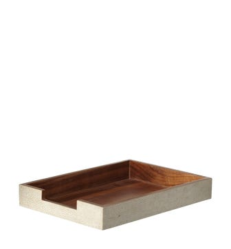 Faux Shagreen A4 Paper Tray - Taupe