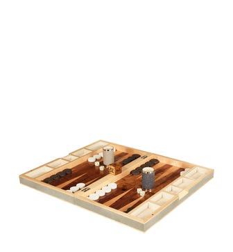 Faux Shagreen Backgammon Set - Taupe