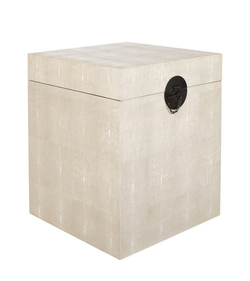 Faux Shagreen Bedside Trunk - Taupe