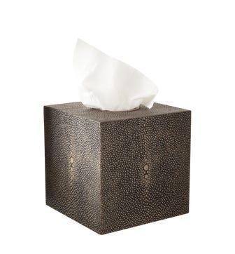 Faux Shagreen Boutique Tissue Box Holder - Mole Brown
