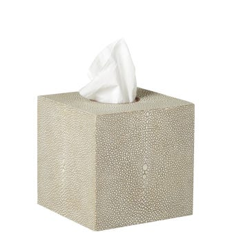 Faux Shagreen Boutique Tissue Box Holder - Taupe
