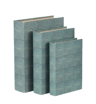 Faux Shagreen Box Files, Set of 3 - Turquoise