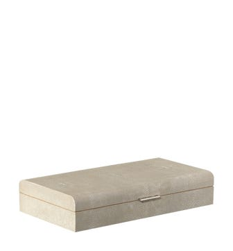 Faux Shagreen Heirloom Box, Large - Taupe