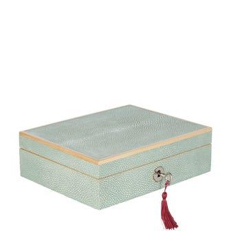 Faux Shagreen Lockable Jewellery Box, Small - Pale Celadon
