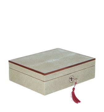 Faux Shagreen Lockable Jewellery Box, Small - Taupe