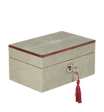 Faux Shagreen Lockable Watch Box - Taupe