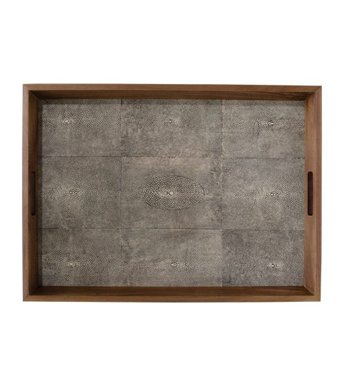 Faux Shagreen Serving Tray, Large - Onyx