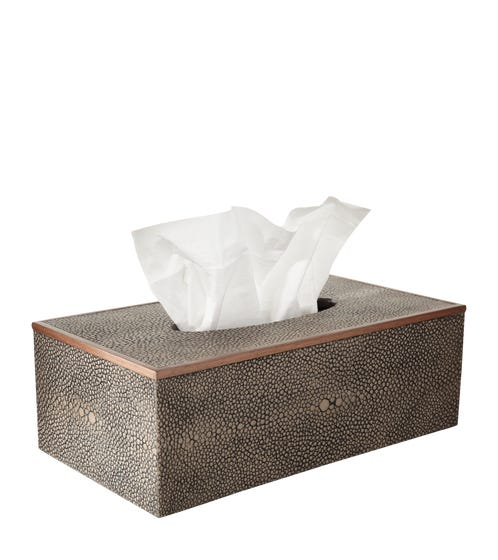 Faux Shagreen Tissue Box Holder - Mole Brown