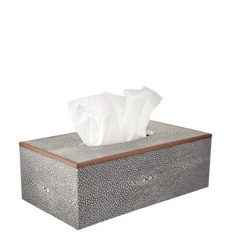 Faux Shagreen Tissue Box Holder - Taupe