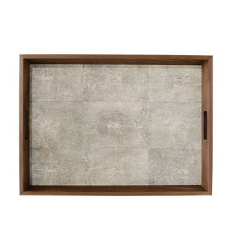 Faux Shagreen Tray Large - Taupe