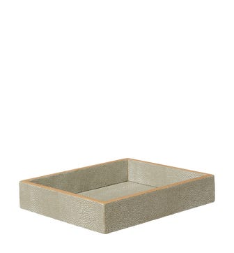 Faux Shagreen Tray - Taupe