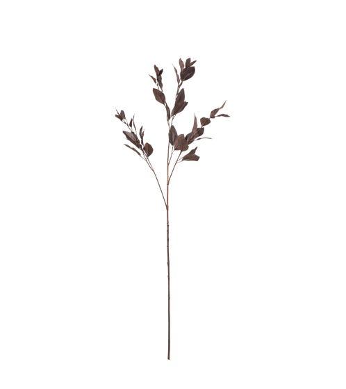 Faux Single Eucalyptus Stem - Dark Brown / Burgundy