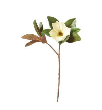 Faux Single Magnolia Stem - White