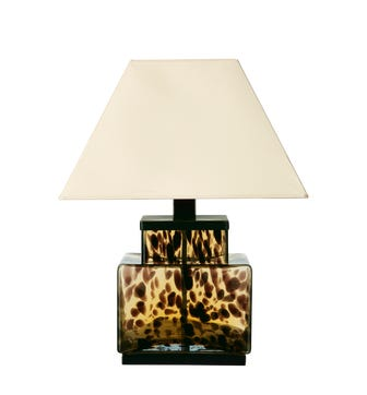 Faux Tortoiseshell Square Glass Lamp - Multi