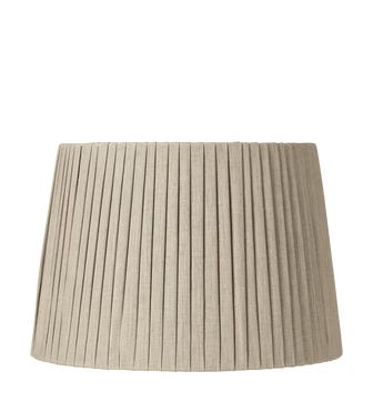 Flat Pleated Fabric Lampshade - 14in / 36cm - Linen - Natural