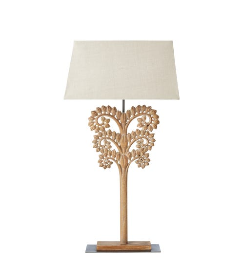 Foxtail Carved Wooden Lamp - Natural