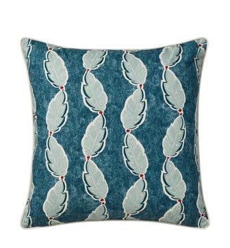 Fractal Leaf Cushion Cover (51cmSq) - Ocean Blue