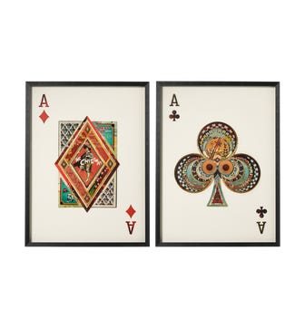 Framed Ace of Clubs & Diamonds Prints - Multi