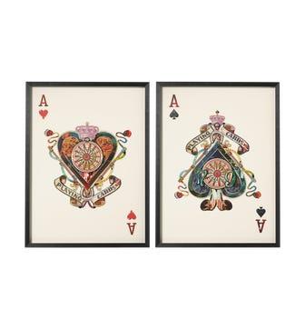 Framed Ace of Spades & Hearts Prints Multi