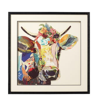 Framed Multi-Coloured Daisy Cow Collage - Multi
