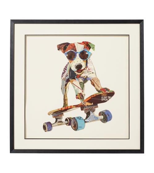 Framed Skateboarding Jasper Hound Print - Multi