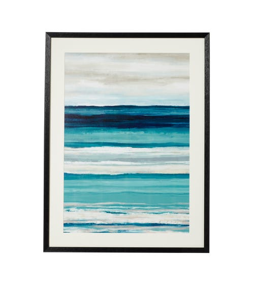 Framed Striped Sea and Sky Print - Multi