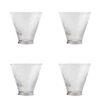 Set of Four Short Twisted Glass Tumblers - Clear