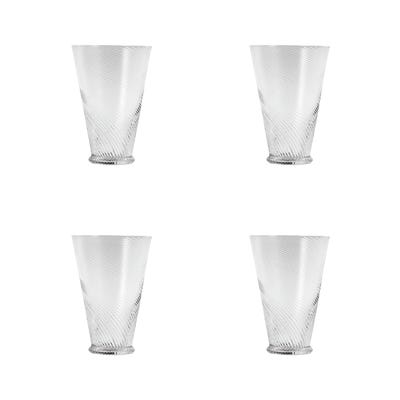 Tall Twisted Glass Tumblers, Set of 4 - Clear