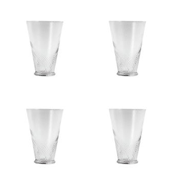 Set of Four Tall Twisted Glass Tumblers - Clear